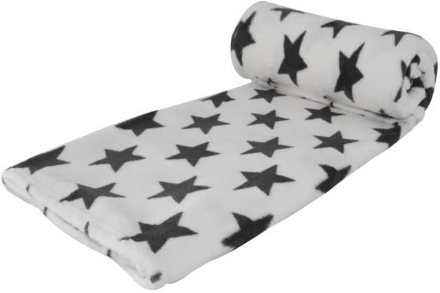 wohndecke coral fleece 150 x 200 cm weiss mit grauen sternen kuschel sofa decke. Black Bedroom Furniture Sets. Home Design Ideas