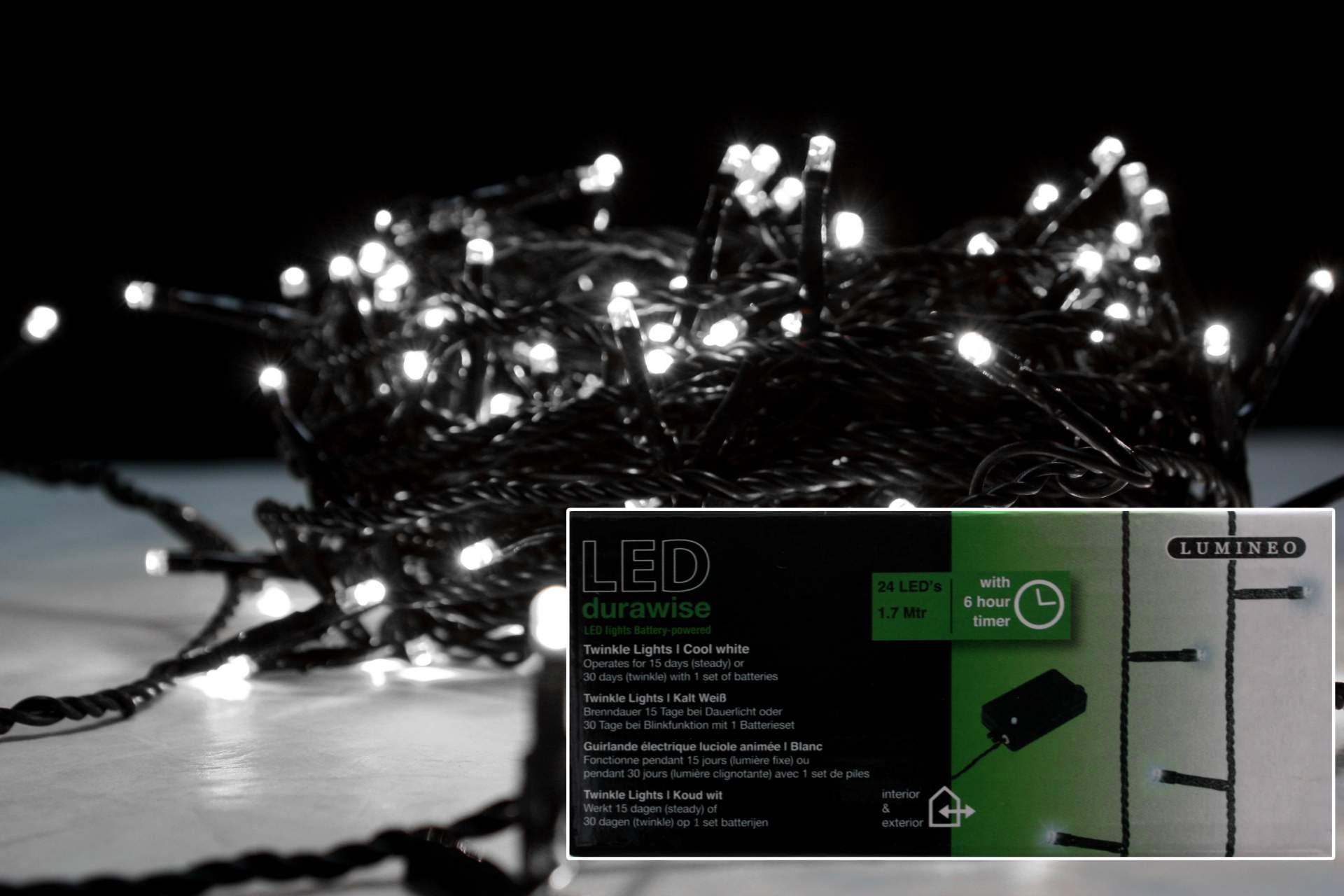 lichterkette kalt wei mit timer 24 led 170cm batterie betrieb innen weihnachten ebay. Black Bedroom Furniture Sets. Home Design Ideas