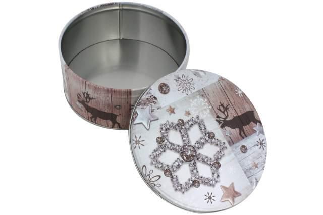 3 st ck pl tzchen dose stern rund flach grau metall. Black Bedroom Furniture Sets. Home Design Ideas