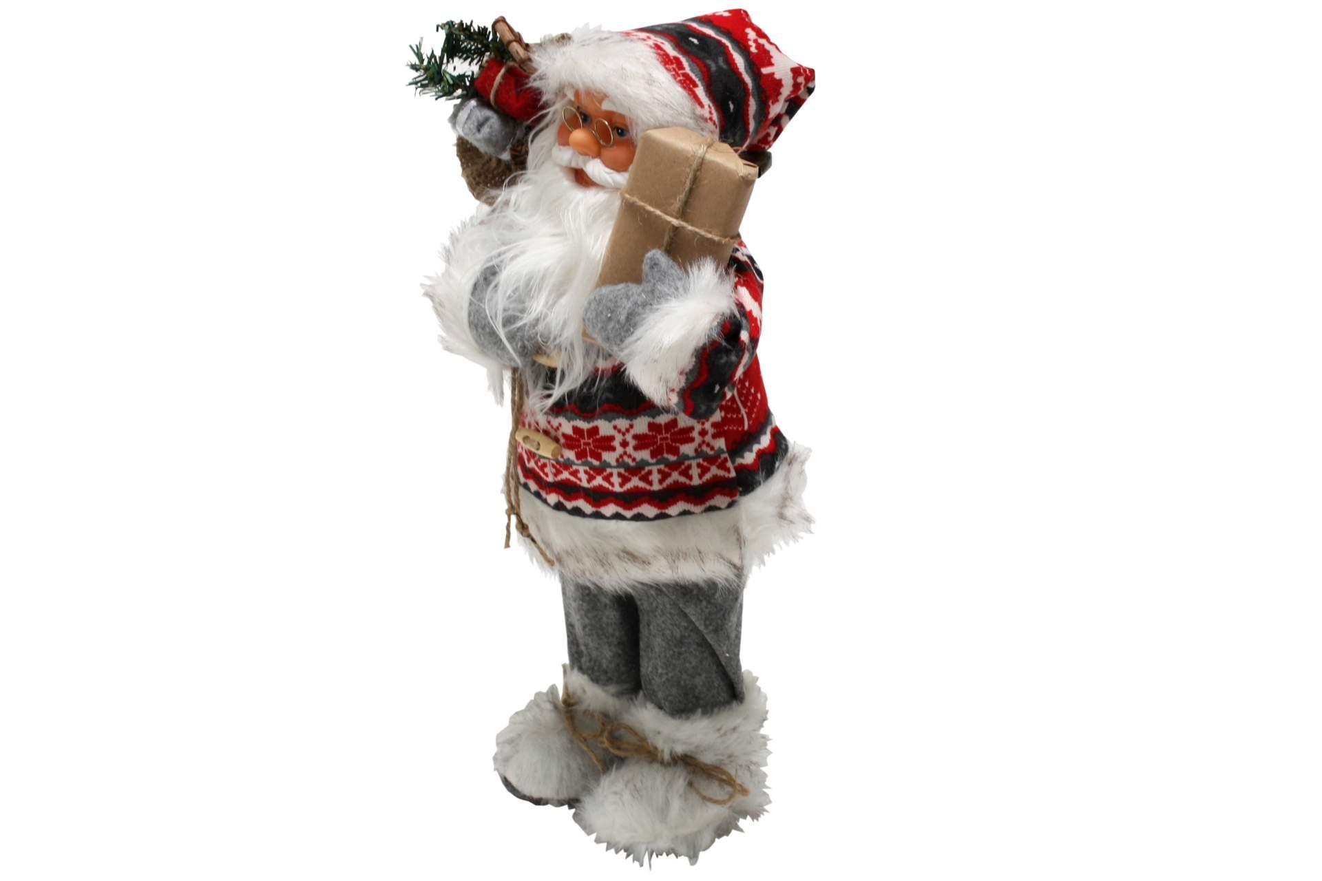 santa claus nikolaus deko figur weihnachtsmann 40 cm nordisch grau mit paket neu ebay. Black Bedroom Furniture Sets. Home Design Ideas