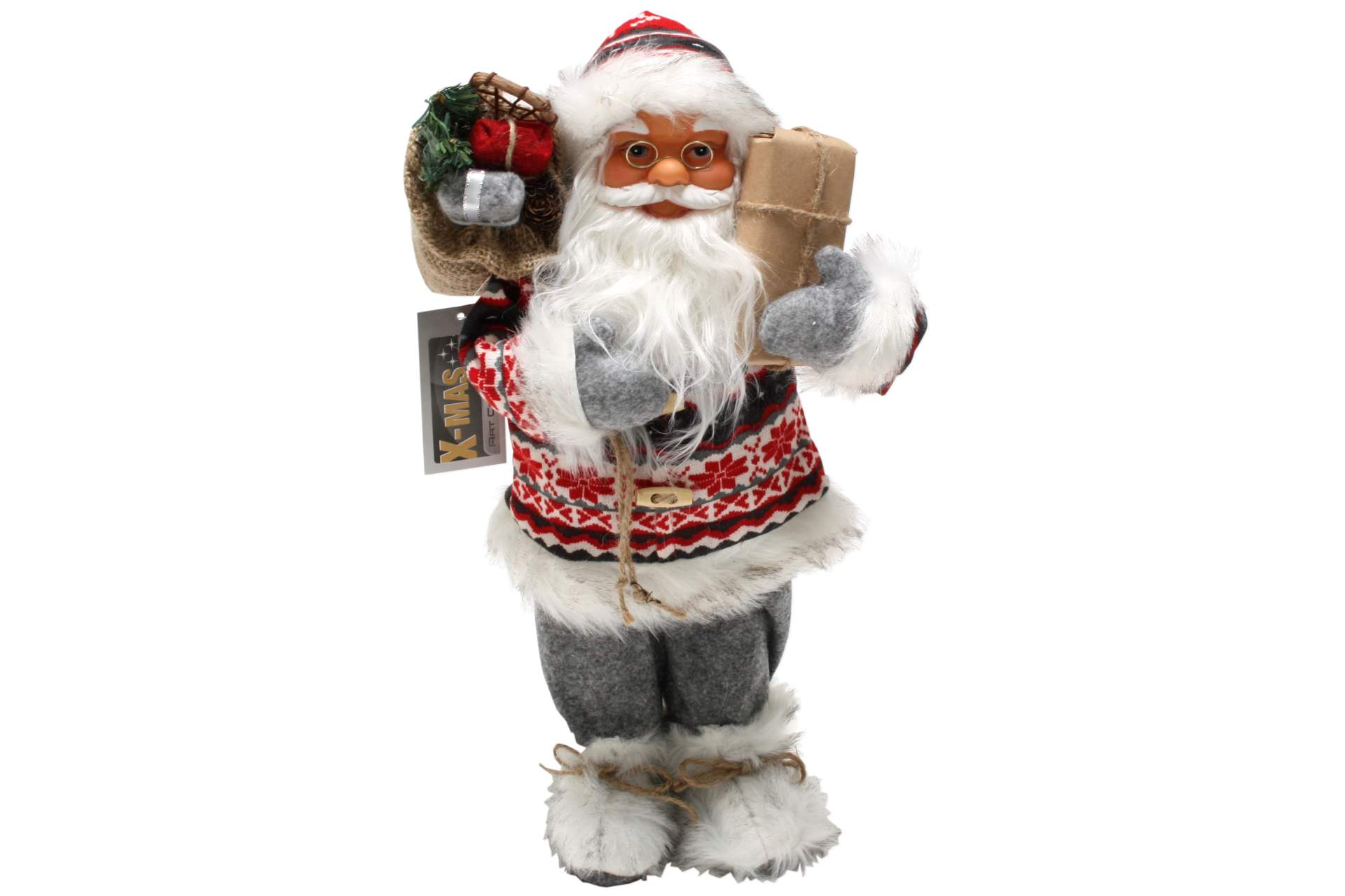 weihnachtsmann 60 cm nordisch grau mit paket santa claus nikolaus deko figur neu ebay. Black Bedroom Furniture Sets. Home Design Ideas