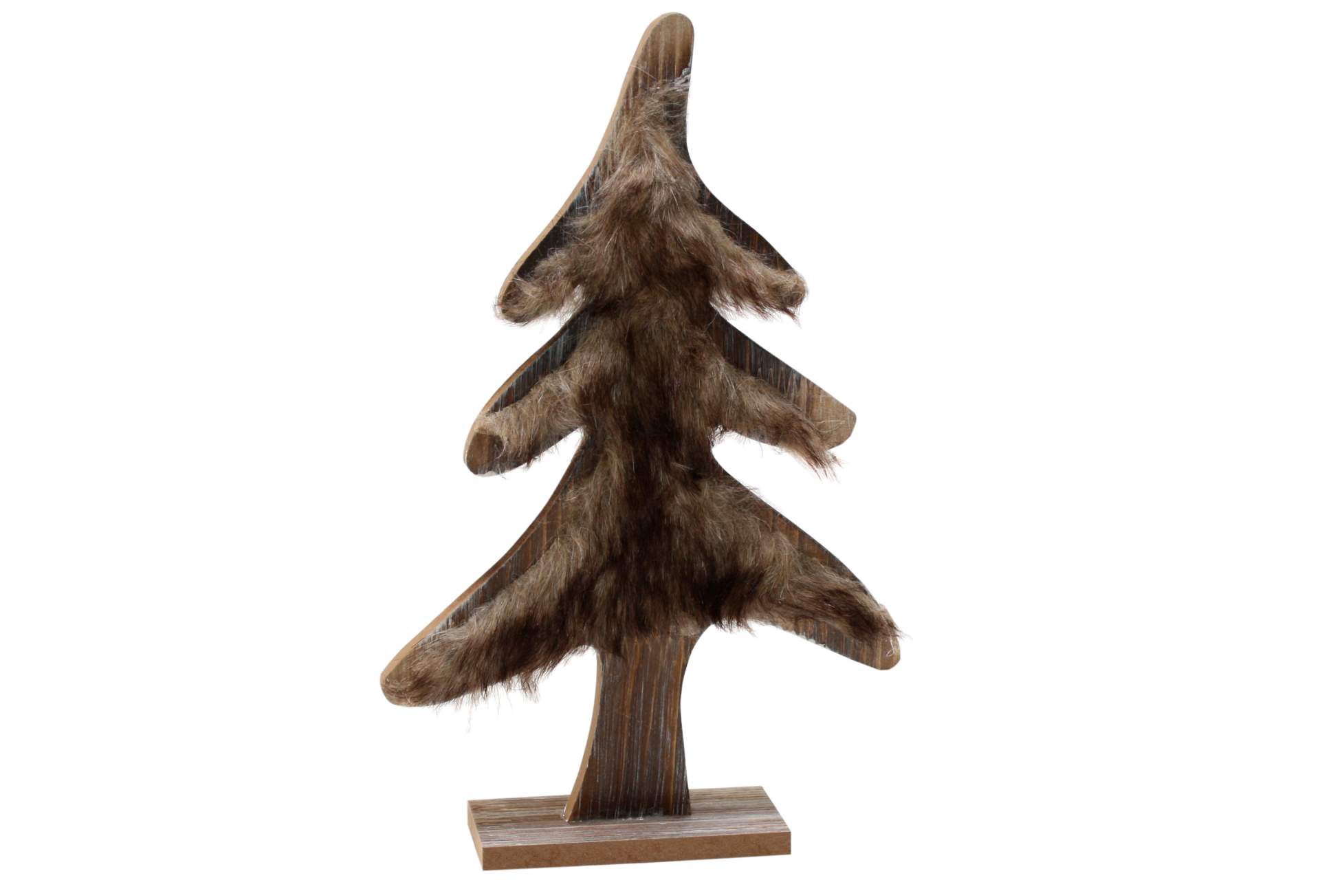 tannenbaum mit kuschelfell 29 cm braun xmas weihnachten holzbaum tanne holz deko ebay. Black Bedroom Furniture Sets. Home Design Ideas