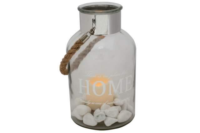 Details zu Windlicht mit LED Kerze inkl Dekosteine weiss Glas Laterne ...