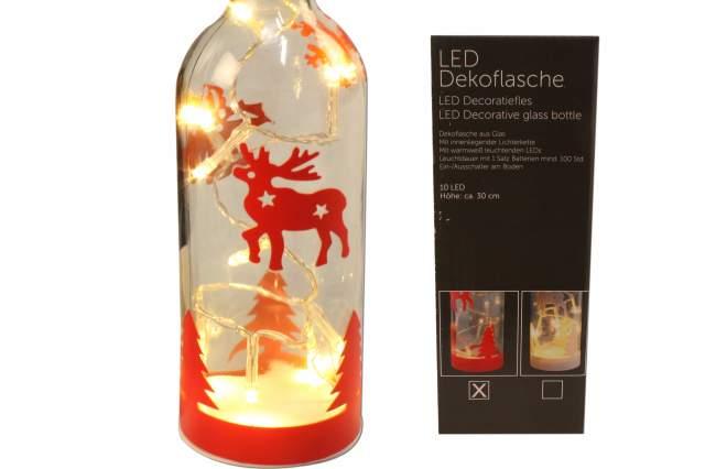 dekoflasche mit 10 led lichterkette rot weihnachts motive deko flasche xmas neu ebay. Black Bedroom Furniture Sets. Home Design Ideas