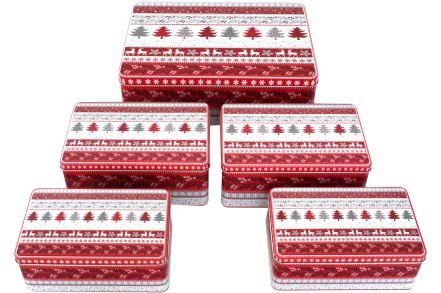 5 st ck pl tzchen dose weihnachten eckig rot weiss metall. Black Bedroom Furniture Sets. Home Design Ideas