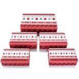 5er Set Gebäckdosen eckig Weihnachtsmotiv Plätzchen Dose
