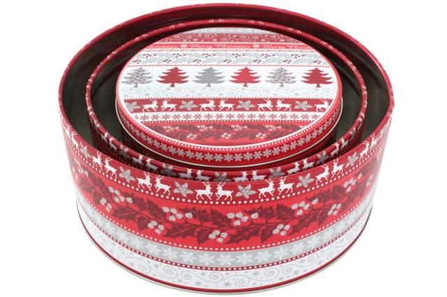 3 st ck pl tzchen dose weihnachten rund rot weiss metall. Black Bedroom Furniture Sets. Home Design Ideas