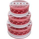 Gebäckdosen 3er Set rund rot Weihnachtsmotiv Metall Dose