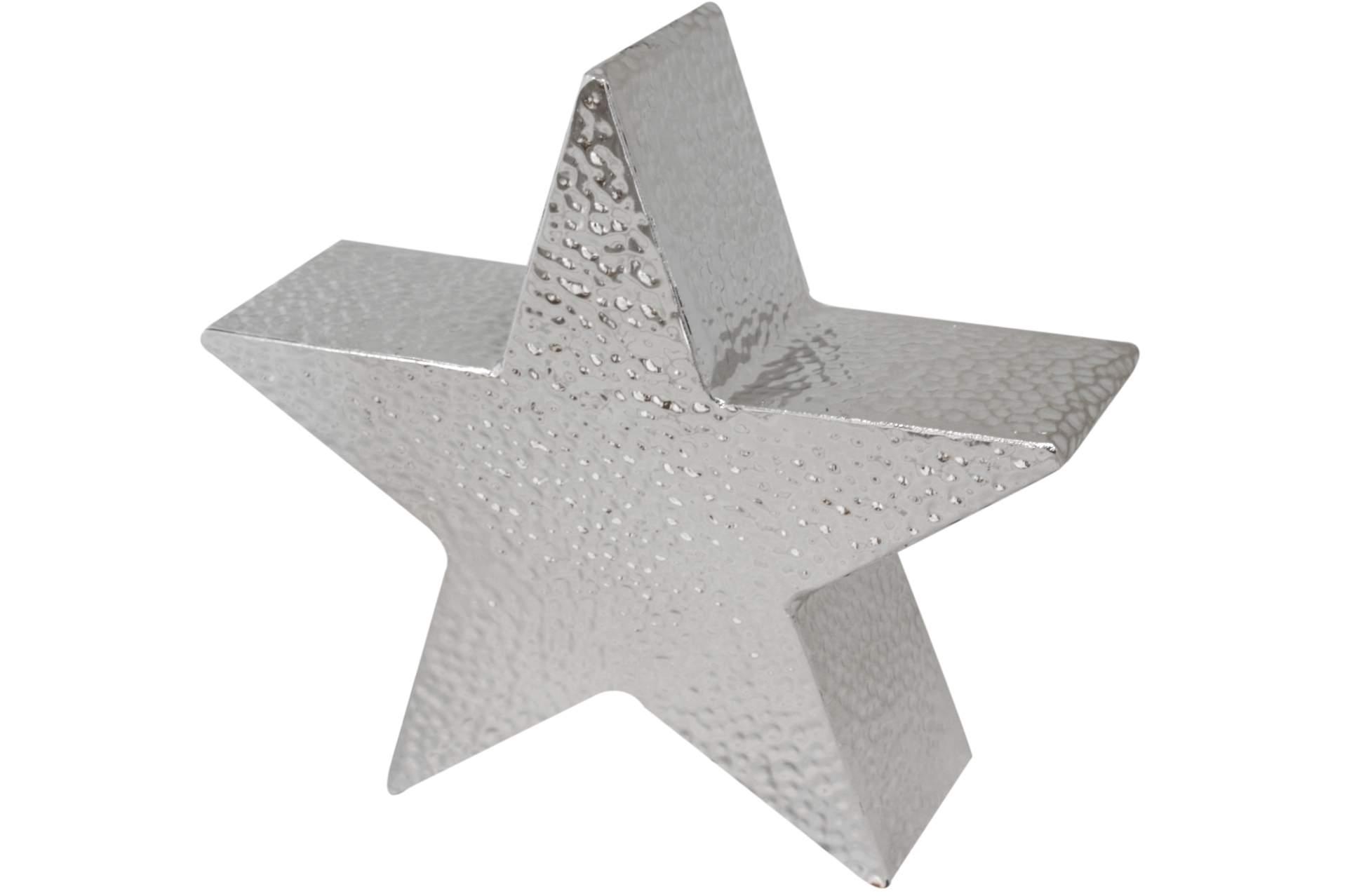 deko metallstern geh mmert silber 26 cm weihnachten stern holz advent winter neu ebay. Black Bedroom Furniture Sets. Home Design Ideas