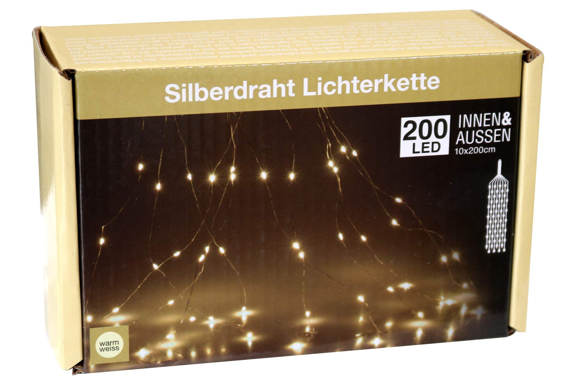 silberdraht lichterkette warmweiss 200 led f r au en und. Black Bedroom Furniture Sets. Home Design Ideas