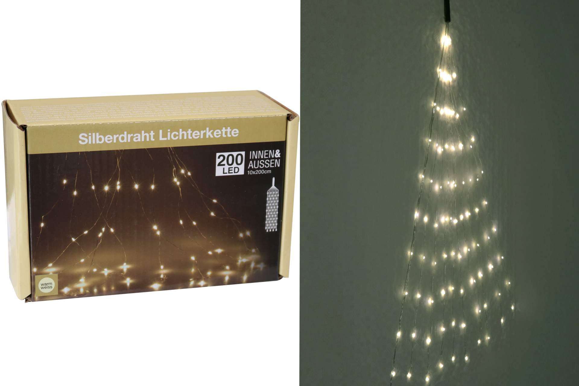 silberdraht lichterkette warmweiss 200 led f r au en und innnen deko weihnachten ebay. Black Bedroom Furniture Sets. Home Design Ideas