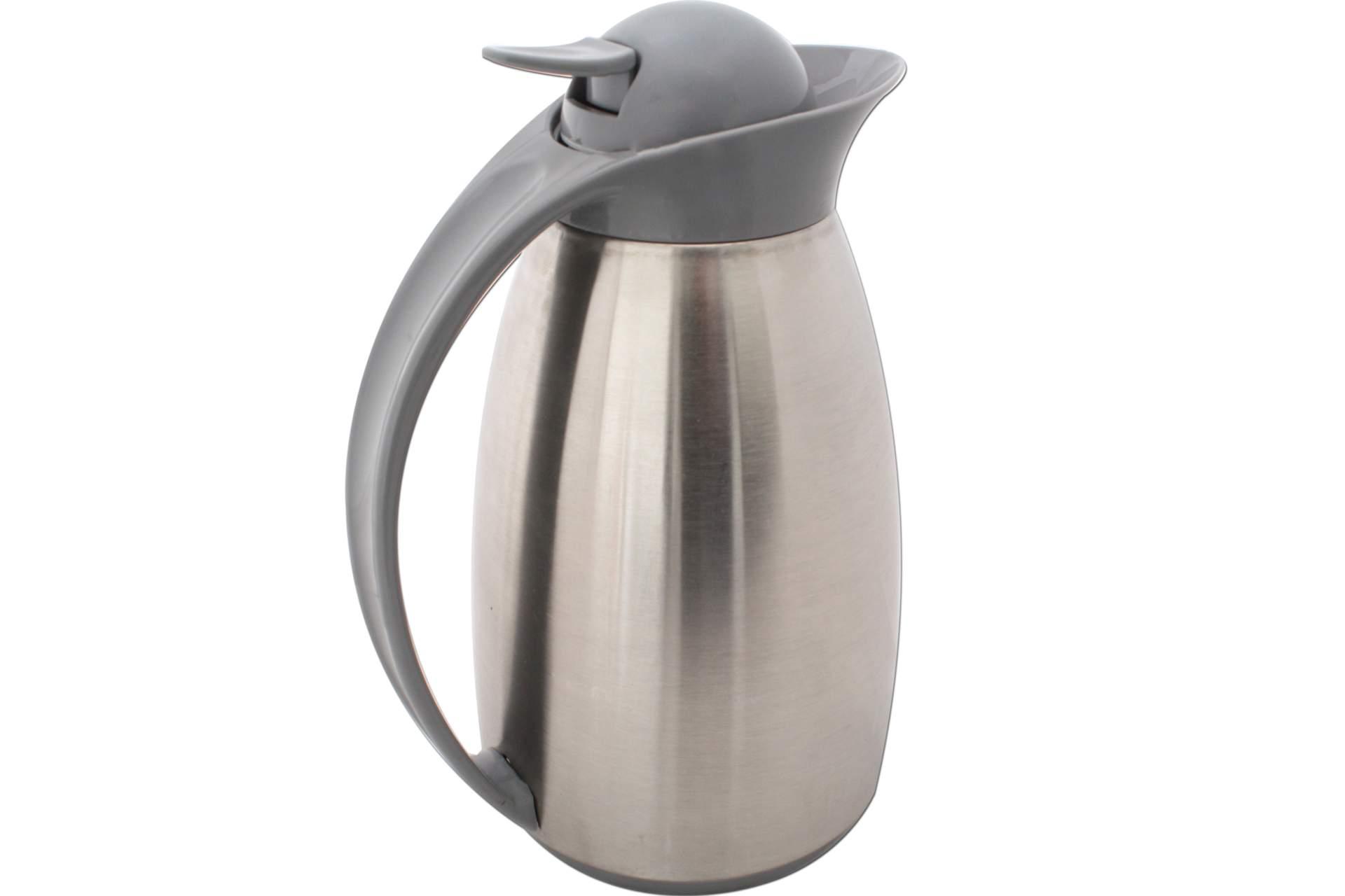 thermo kaffee kanne thermoskanne thermokanne warmhaltekanne 1 liter grau silber ebay. Black Bedroom Furniture Sets. Home Design Ideas