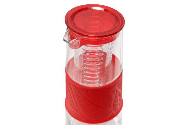 glaskaraffe mit fruchteinsatz rot deckel 1 liter glas karaffe pitcher kanne krug ebay. Black Bedroom Furniture Sets. Home Design Ideas