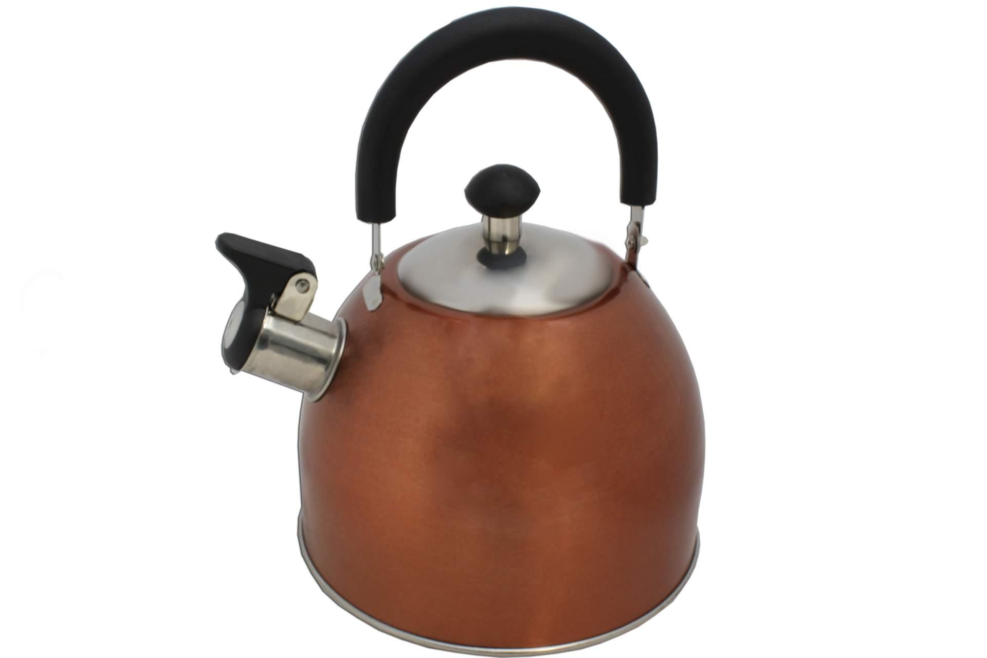 wasserkessel bronze aus edelstahl mit pfeife und deckel 2 5 liter wasser kessel ebay. Black Bedroom Furniture Sets. Home Design Ideas