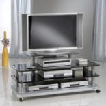 fernsehtisch tv phonotisch glas fernseh regal audio hifi pluto rack phono tisch ebay. Black Bedroom Furniture Sets. Home Design Ideas