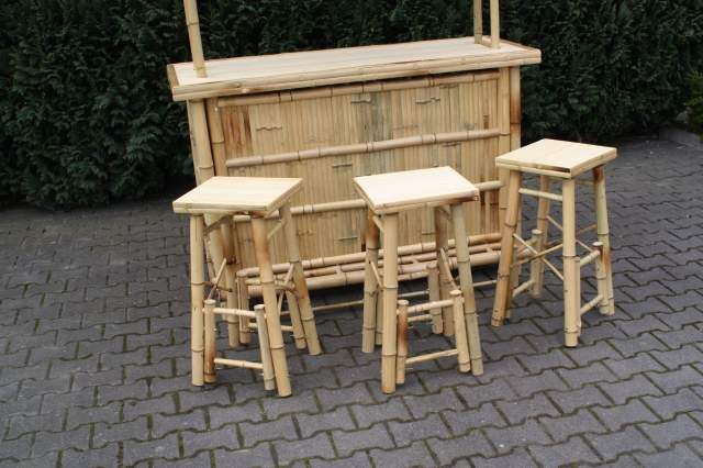 bambus bar mit 3 barhocker 4 teilig theke tresen hocker terrasse garten cocktail. Black Bedroom Furniture Sets. Home Design Ideas