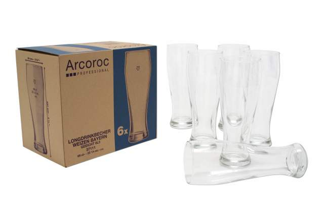 weizenbier gl ser arcoroc 6 er set glas hefe weizen wei schwarz bier bayern neu ebay. Black Bedroom Furniture Sets. Home Design Ideas