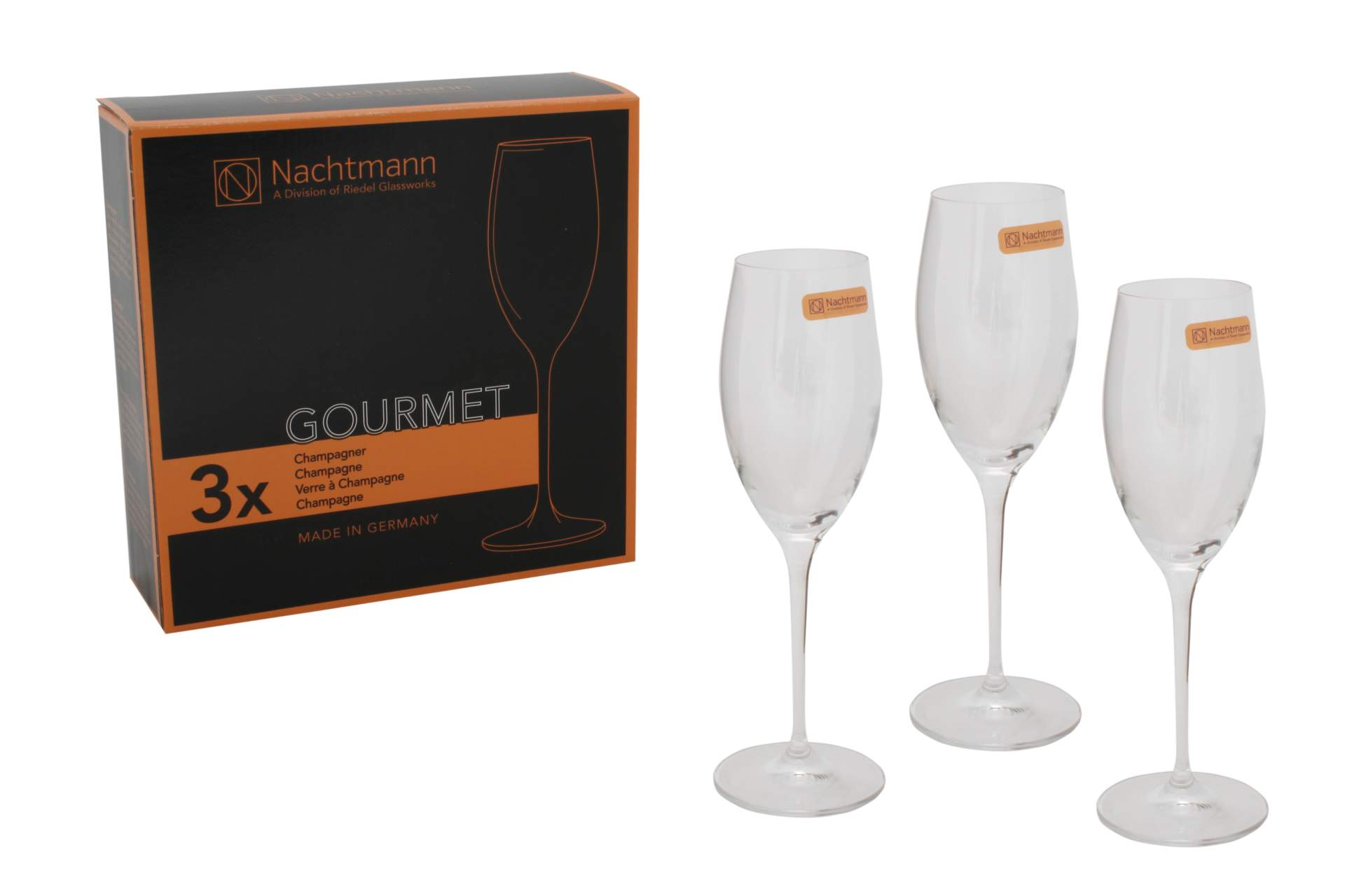 champagner gl ser 3 er set nachtmann serie gourmet sekt pokal kristall glas neu ebay. Black Bedroom Furniture Sets. Home Design Ideas