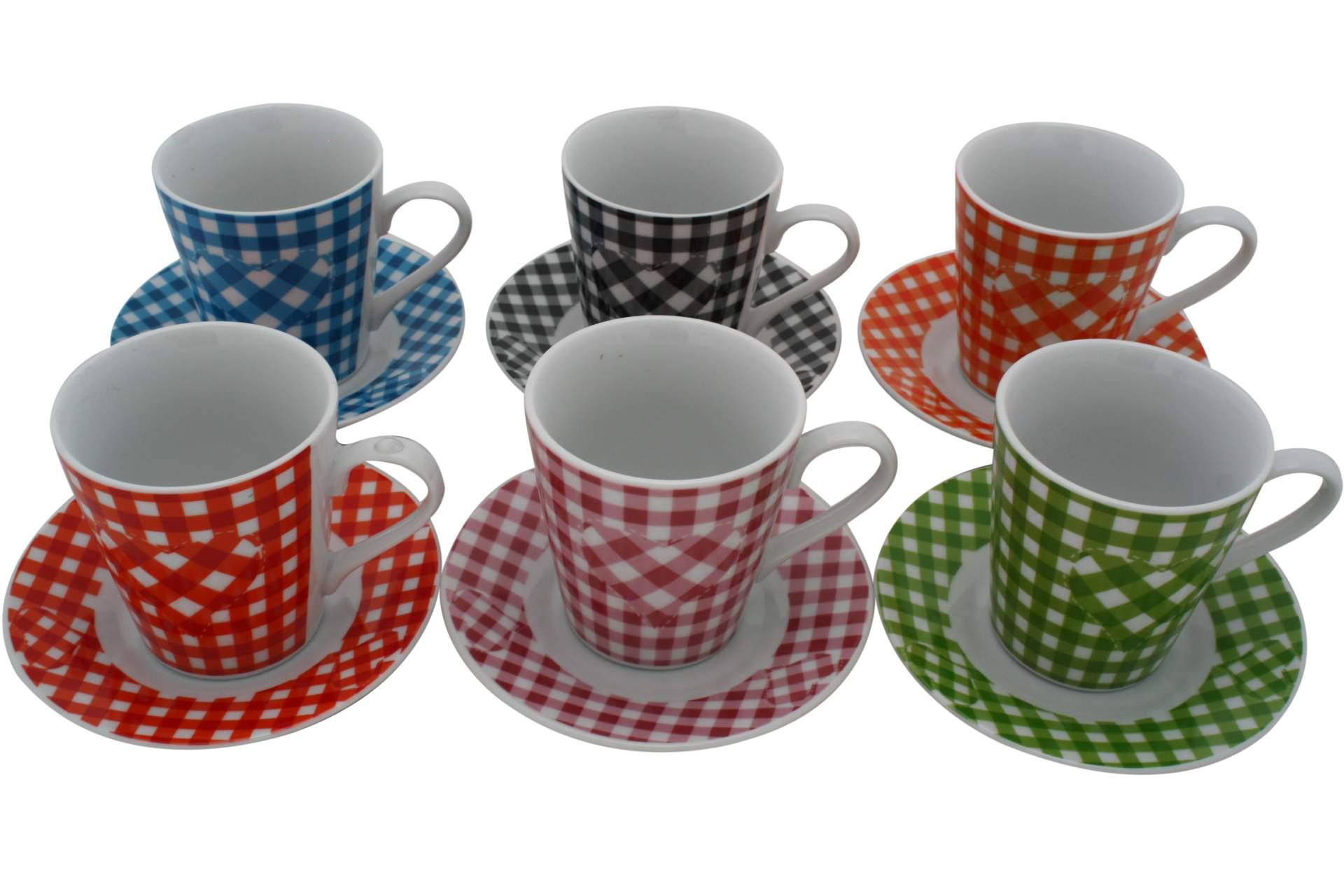 6 er cappuccino tassen set karomotiv tasse mit untertasse cappuccinotasse 12 tlg ebay. Black Bedroom Furniture Sets. Home Design Ideas