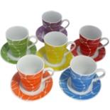 Cappuccino Kaffee Tassen & Untersetzerset 12tlg Netzmotiv