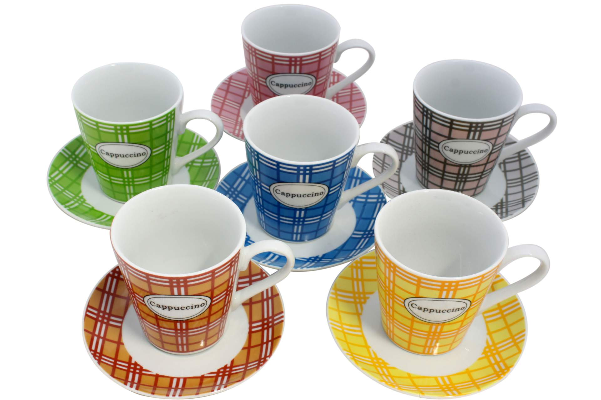 6 er cappuccino tassen set schrift tasse mit untertasse cappuccinotasse 12 tlg ebay. Black Bedroom Furniture Sets. Home Design Ideas