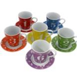 Cappuccino Kaffee Tassen & Untersetzerset 12tlg Zahlen Motiv