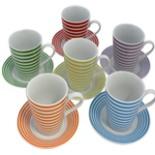Cappuccino Kaffee Tassen&Untersetzerset 12tlg Linienmotiv