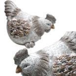 Deko Gartenfigur Henne 31cm Echte Handarbeit Steinoptik Huhn