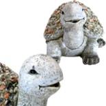 Deko Gartenfigur Schildkröte 32,5 cm Handarbeit Steinoptik