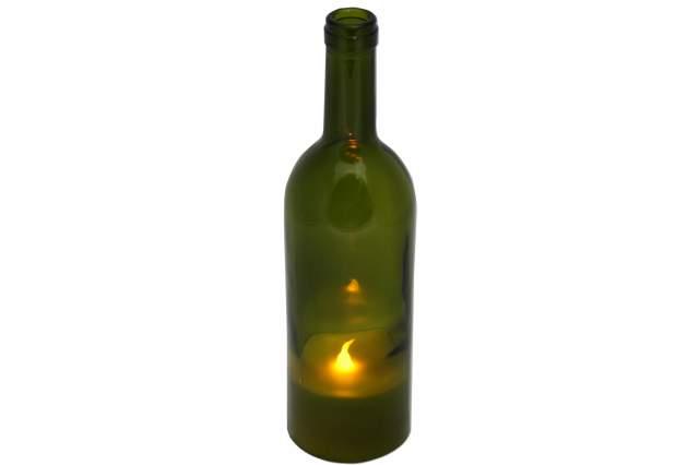 led echtwachs kerze in weinflasche 27 cm flaschen gr n lampe. Black Bedroom Furniture Sets. Home Design Ideas