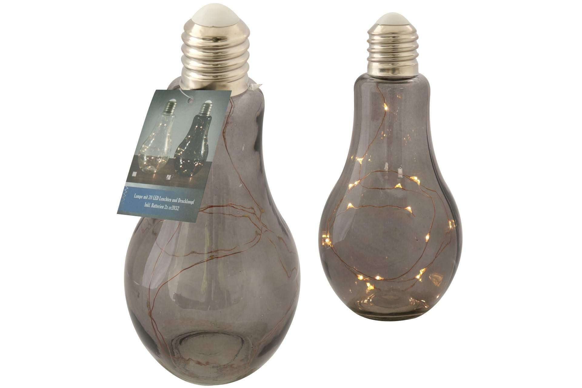 glas deko leuchte gl hbirne 22 cm 20 led dunkel dekoleuchte stimmungs lampe neu eur 11 89. Black Bedroom Furniture Sets. Home Design Ideas