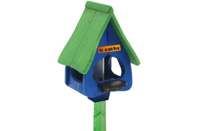 vogelhaus blau gr n mit fuss 170cm spender futter nistkasten vogel haus h uschen ebay. Black Bedroom Furniture Sets. Home Design Ideas