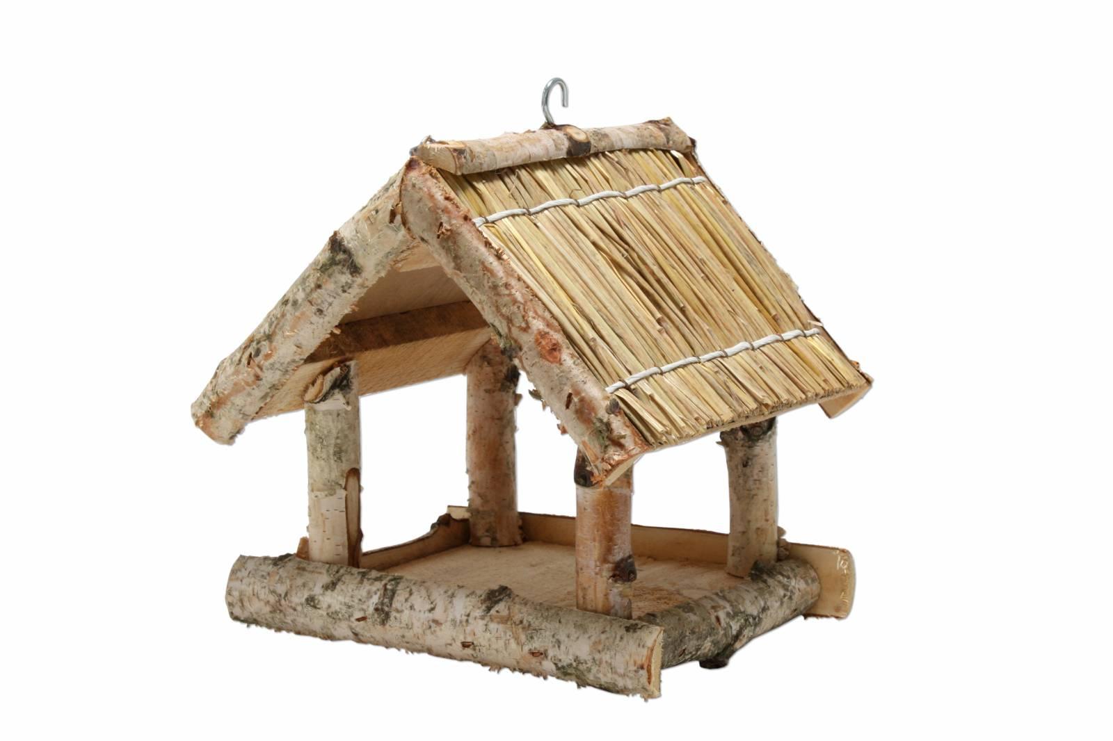 vogelhaus mit naturdach birke und stroh nistkasten vogel futter haus h uschen ebay. Black Bedroom Furniture Sets. Home Design Ideas