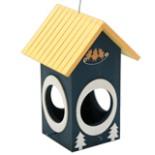 Vogelhaus Futter Villa Tanne hängend Holz  blau gelb