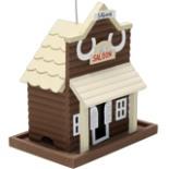 Vogelhaus Futter Villa SALOON hängend Holz  braun beige