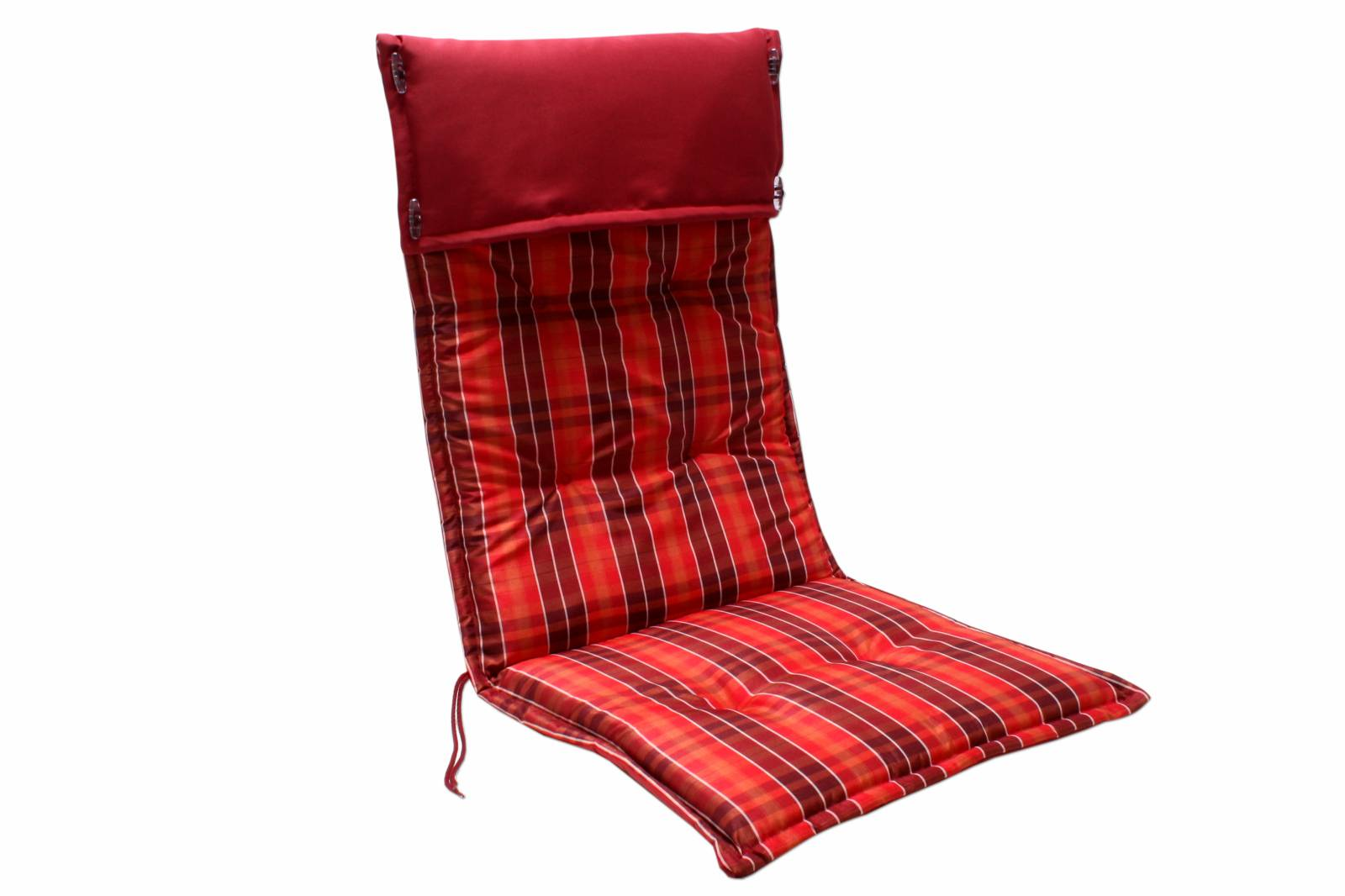auflage gartenstuhl juist rot kariert hochlehner stuhl sessel kissen garten neu ebay. Black Bedroom Furniture Sets. Home Design Ideas