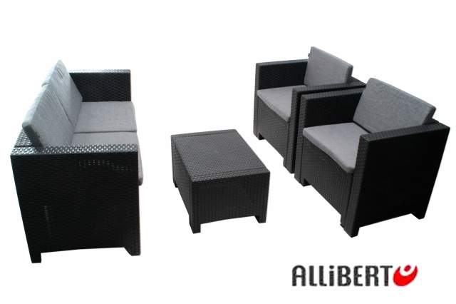 lounge garnitur sitzgruppe poly allibert cannes anthrazit grau garten sitzgruppe ebay. Black Bedroom Furniture Sets. Home Design Ideas