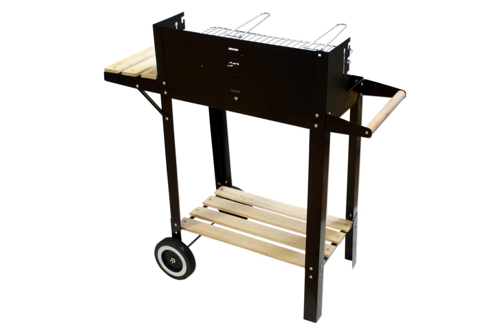 grillwagen kynast deluxe schwarz mit ablage auf rollen holzkohlegrill holz neu ebay. Black Bedroom Furniture Sets. Home Design Ideas