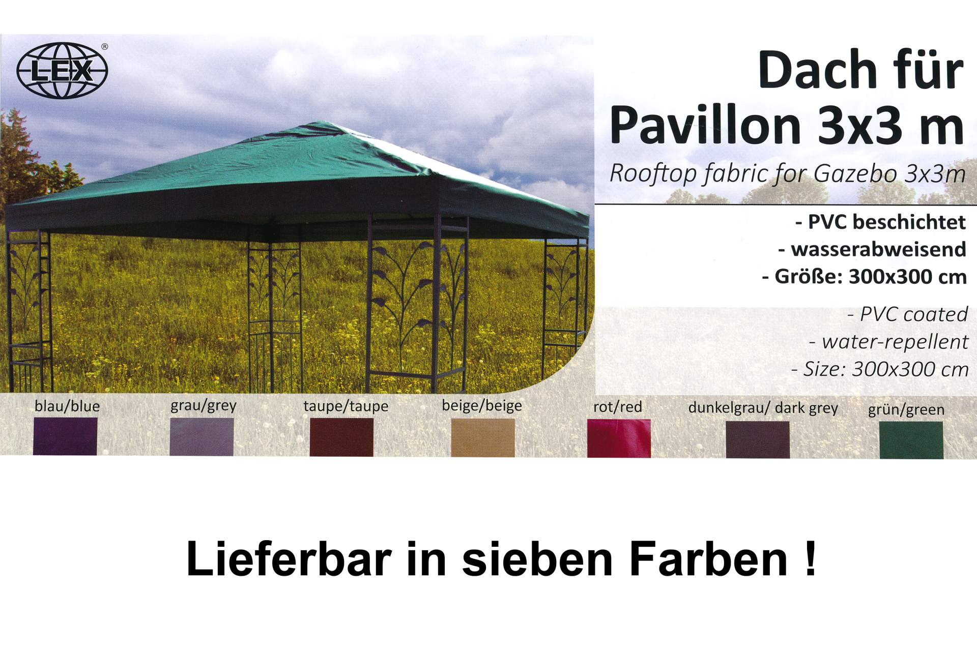 pavillon ersatzdach 3 x 3 m in beige dach pavillon pavillion partyzelt garten. Black Bedroom Furniture Sets. Home Design Ideas