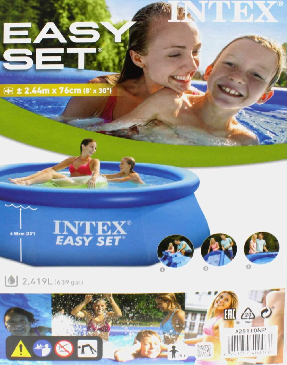 easy pool set intex 244 x 76 cm swimmingpool schwimmbecken pool planschbecken. Black Bedroom Furniture Sets. Home Design Ideas