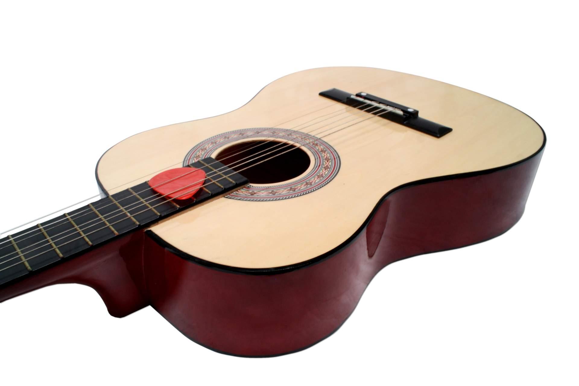 akustik gitarre beige 91 5 cm holz mit 6 saiten plektrum konzert klassik neu ebay. Black Bedroom Furniture Sets. Home Design Ideas