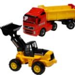 Sandkasten Fahrzeuge Kipper u. Radlader Set gelb rot schwarz