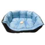 Heimtier Hunde Bett blau schwarz 64 x 53 x 22 cm Mittel
