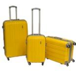 Koffer Trolley Set 3-er Reisekoffer in gelb mit Alu Rahmen