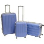 Koffer Trolley Set 3-er Reisekoffer in lila mit Alu Rahmen