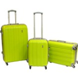 Koffer Trolley Set 3-er Reisekoffer in grün mit Alu Rahmen