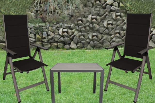 kynast gartentisch non wood hellgrau anthrazit 90 x 90cm tisch aluminium gestell ebay. Black Bedroom Furniture Sets. Home Design Ideas