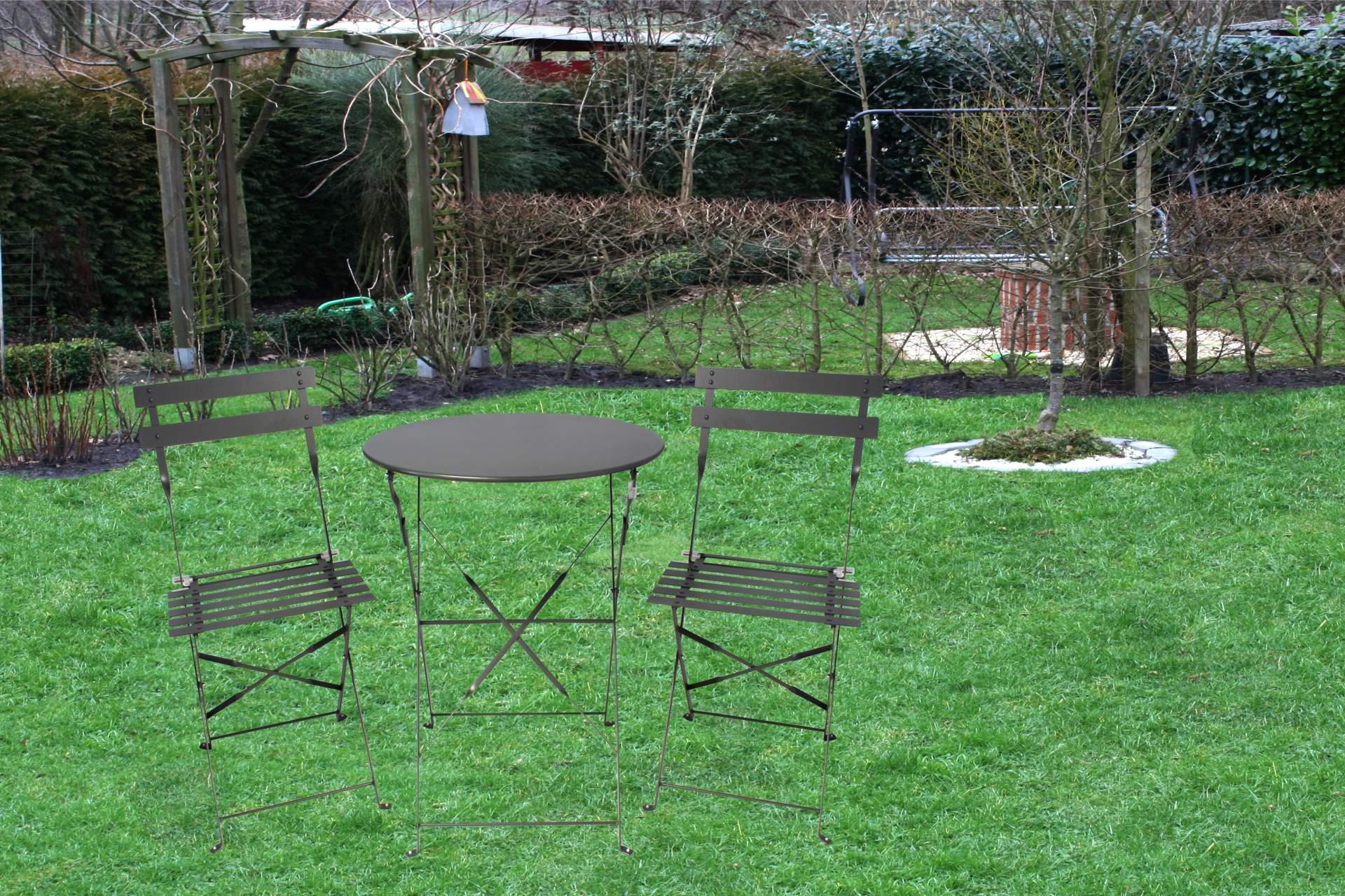 bistro set garnitur kynast 3 tlg anthrazit metallgestell stuhl tisch klappbar ebay. Black Bedroom Furniture Sets. Home Design Ideas
