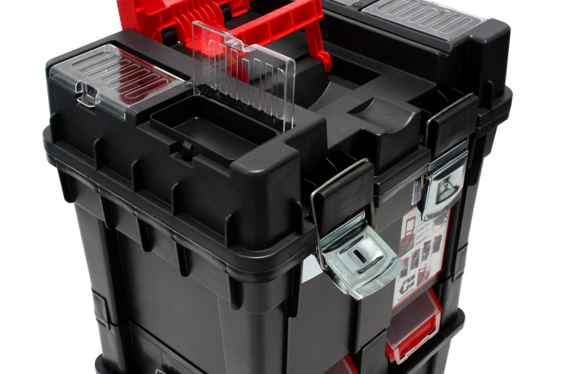 werkzeugbox trolley auf rollen schwarz rot 72 cm werkzeug. Black Bedroom Furniture Sets. Home Design Ideas