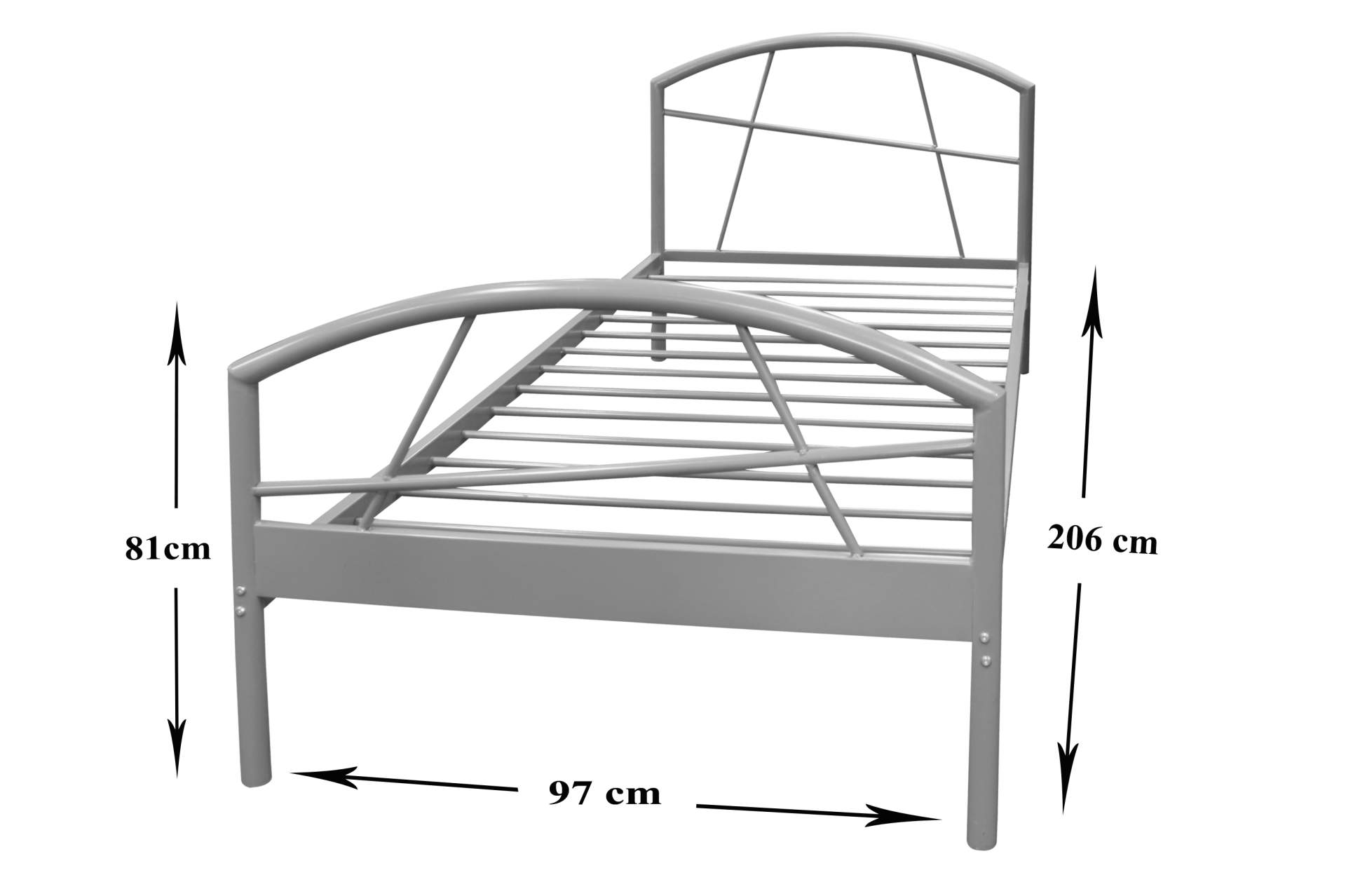 metall bettgestell susi grau 90 x 200 cm schlafzimmer m bel metallbett neu ebay. Black Bedroom Furniture Sets. Home Design Ideas